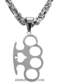 Large Stainless  Brass Knuckles Pendant Byzantine Chain   3 Lengths  FREE SHIPPING - Product Image