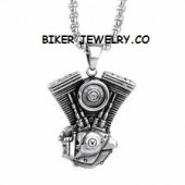 Large V Twin Motor  Stainless Steel  Engine Pendant  with Rope Chain   FREE SHIPPING - Product Image