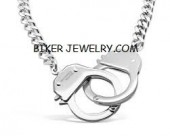 Larger Stainless Steel Handcuff Necklace  On Curb Link Chain  In 3 Lengths  FREE SHIPPING - Product Image
