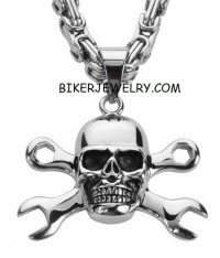 Large Stainless  Skull Biker Pendant Byzantine Chain   4 Lengths  FREE SHIPPING - Product Image
