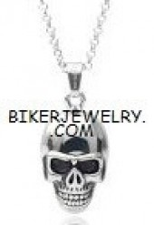 Larger Stainless Steel  Skull Biker Pendant  With Rope Chain  3 Lengths  FREE SHIPPING - Product Image