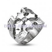 Designer  Stainless Steel  Cross Ring With CZ  Sizes 9-14  FREE SHIPPING - Product Image