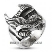 Live to Ride Ride to Live Stainless Steel Biker RingAvailable in Sizes 9-16FREE SHIPPING - Product Image