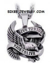 Live to Ride, Ride to Live  Stainless Steel  Large Eagle Pendant  with Rope Chain  FREE SHIPPING