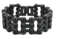 Men's Black Motorcycle Double Wide Primary Bike Chain Stainless Steel Biker Bracelet 3 Lengths  FREE SHIPPING - Product Image
