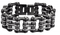 Men's Black Motorcycle Double Wide Primary Bike Chain Stainless Steel Biker Bracelet 5 Lengths  FREE SHIPPING - Product Image
