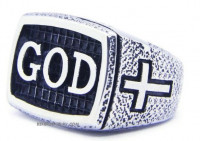 Men's Religious GOD Stainless Steel Ring Sizes 8-13 - Product Image