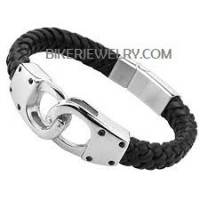 Men's Handcuff Leather Braided Bracelet Stainless Steel  FREE SHIPPING - Product Image