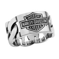 Men's Harley-Davidson ® By Mod ® Stainless Steel ID Chain Link Wedding Band HSR0072 - Product Image