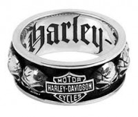 Men's Harley-Davidson ® Willie G Skull Wedding Band Sterling Silver Spinner Ring By Mod Jewelry® HDR0200 - Product Image