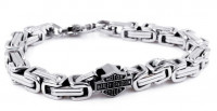 Men's Harley-Davidson® Mod Jewelry® Stainless Steel Square Byzantine Bar & Shield Biker Bracelet HSB0010 - Product Image