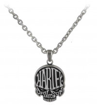 Men's Harley-Davidson® Motorcycle Stainless Steel Biker Calavera Skull Necklace by Mod Jewelry®HSN0072 - Product Image