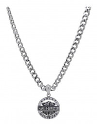 Men's Harley-Davidson® Stainless Steel Biker Necklace on a Curb Link Chain by Mod Jewelry®HSN0041 - Product Image
