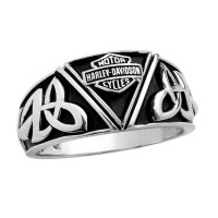 Men's Harley-Davidson® Wedding Band Sterling Silver Celtic Design By Mod Jewelry®HDR0454 - Product Image