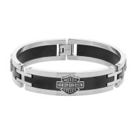 Men's Harley-Davidson® Motorcycle Biker Black & Stainless Steel Interlocking Logo Bracelet Mod Jewelry®HSB0001 - Product Image