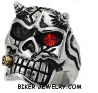 Men's Motorcycle  Stainless Steel  Skull with Horns  Biker Ring  Sizes 8-13  FREE SHIPPING - Product Image