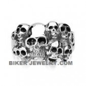 Men's Stainless Steel  10 Skull Biker Ring  Sizes 9-15  FREE SHIPPING - Product Image