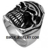 Men's  Stainless Steel  Skull Motorcyclist Ring  With Goggles  Sizes 9-15  FREE SHIPPING - Product Image