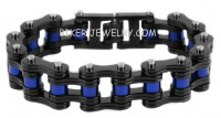 Men's Stainless Steel Black / Blue Motorcycle Bracelet Police Support 5 Lengths  FREE SHIPPING - Product Image