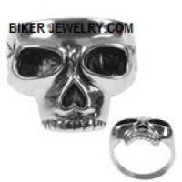 Men's Stainless Steel Flat Top Skull Biker Ring  Sizes 9-15  FREE SHIPPING - Product Image
