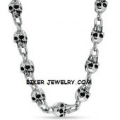 Men's Stainless Steel  Large Skull Link Biker Necklace  FREE SHIPPING - Product Image