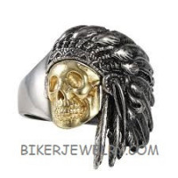 Men's Stainless Steel Motorcycle Biker Ring Gold Skull Indian Chief Sizes 9-16 FREE SHIPPING - Product Image