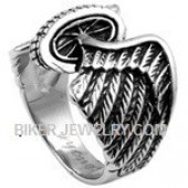 Men's  Stainless Steel Winged Wheel  Classic Motorcycle Biker Ring  Sizes 9-16  FREE SHIPPING - Product Image