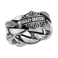 Men's Wedding Band Sterling Silver Harley-Davidson ® Chain Ring  Available in Sizes 13-15HDR0188 - Product Image
