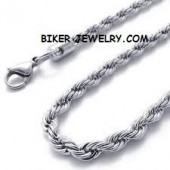Men's or Ladies  Stainless Steel  3mm Rope Necklace  FREE SHIPPING - Product Image