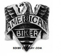 Men's  Stainless Steel  American Old School  Motorcycle Biker Ring  Sizes 8-16  FREE SHIPPING - Product Image
