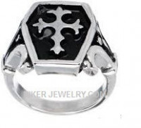 Men's Stainless Steel Coffin Cross Biker RingSizes 9-14FREE SHIPPING - Product Image