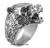Men's  Stainless Steel  Grizzly Bear Ring Sizes 9-15  FREE SHIPPING - Product Image