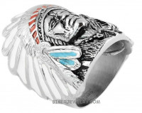 Men's  Stainless Steel Indian Head-dress   Biker Ring  Sizes 10-16  FREE SHIPPING - Product Image