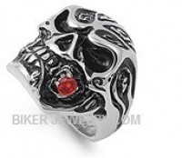 Men's  Stainless Steel  Skull Biker Ring  Red CZ as a Rose  Sizes 8-16  FREE SHIPPING - Product Image