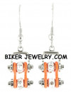 Ladies Mini Stainless Steel Chrome and Orange Bling Motorcycle Bike Chain Earrings  FREE SHIPPING