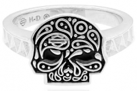 Mod Jewelry® and Harley-Davidson® Motorcycle Ladies Paisley Sugar Skull Biker Ring Sterling Silver Sizes 5-10HDR0418  - Product Image