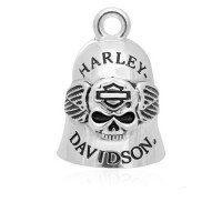Motorcycle Ride Bell Harley Davidson ® Skull and Wing Old School Biker Bell  FREE SHIPPING HRB045 - Product Image