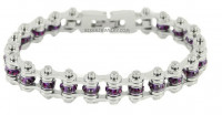 February Ladies Stainless Steel Motorcycle Bracelet with Amethyst Crystals  FREE SHIPPING - Product Image