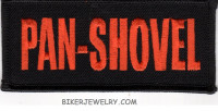 "PAN-SHOVEL  Motorcyle Biker Patch  1 3/4 "" x 4""  FREE SHIPPING - Product Image"