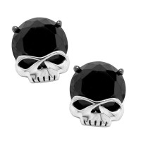 Harley Davidson® Sterling Silver Willie G Skull Black Stone Post Earrings by Mod Jewelry® HDE0378 - Product Image