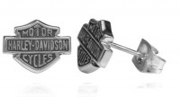 Post Earrings Harley Davidson ® Mod Jewelry® Medium Size Sterling Silver For Both Men and WomenHDE0231 - Product Image
