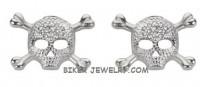POST EARRINGS Skull an Cross Bone Earrings Stainless Steel  FREE SHIPPING - Product Image