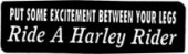 PUT SOME EXCITEMENT BETWEEN YOUR LEGS Ride A Harley Rider - Product Image