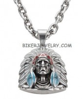 Pendant  Indian Head-dress  Stainless Steel  with  Designer Chain  FREE SHIPPING - Product Image