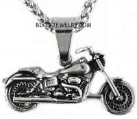 Motorcycle Pendant   Stainless Steel  Designer Chain  Many Lengths  FREE SHIPPING - Product Image