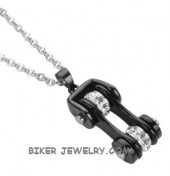 Pendant / Chain  Black on Black  Motorcycle  Bike Chain  Stainless Steel  FREE SHIPPING - Product Image