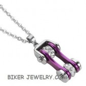 Pendant/Chain  Chrome/Purple  Motorcycle  Bike Chain  Stainless Steel  FREE SHIPPING - Product Image