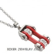 Pendant/Chain  Silver/Red  Motorcycle  Bike Chain  Stainless Steel  FREE SHIPPING - Product Image