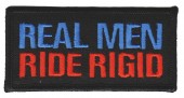 "Real Men Ride RigidMotorcycle Biker Patch 3 1/2"" x 1 3/4""FREE SHIPPING - Product Image"