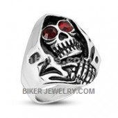 Reaper Ring  With Red Eyes  Stainless Steel  Sizes 8-16  FREE SHIPPING - Product Image